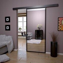 Drzwi Przesuwne Czarna Rama Lustro Dwustronne Komplet z Systemem Przesuwnym 85 cm