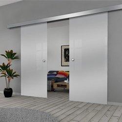 Drzwi Szklane Przesuwne 130(2X65) GEO SATYNA SILVER