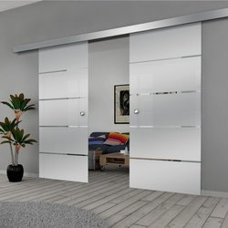 Drzwi Szklane Przesuwne 130(2X65) GEO11 SILVER