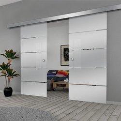 Drzwi Szklane Przesuwne 150(2X75) GEO11 SILVER