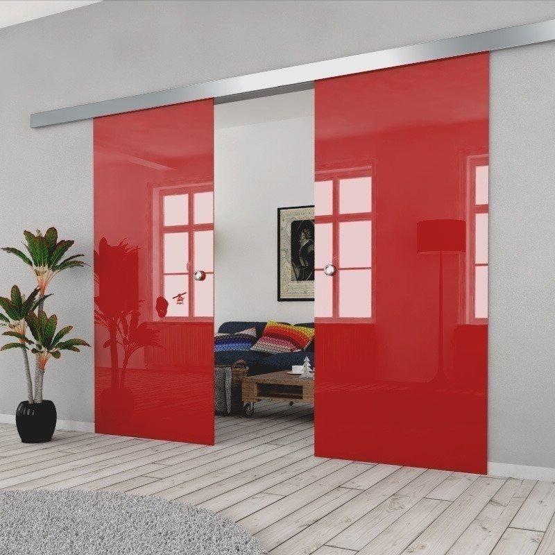 Drzwi Szklane Przesuwne 150(2X75) VSG CZERWONE SILVER