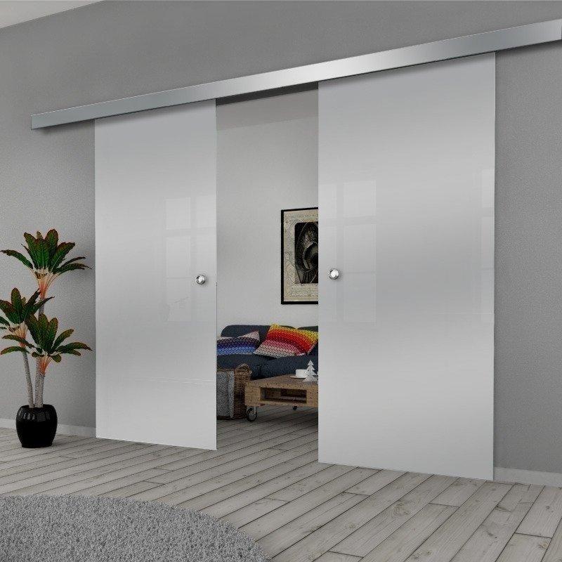 Drzwi Szklane Przesuwne 170(2X85) GEO SATYNA SILVER