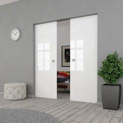 Drzwi Szklane Przesuwne 170(2X85) VSG BIAŁE FLOAT KASETA