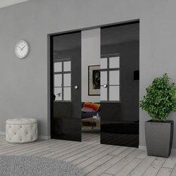 Drzwi Szklane Przesuwne 170(2X85) VSG CZARNE KASETA
