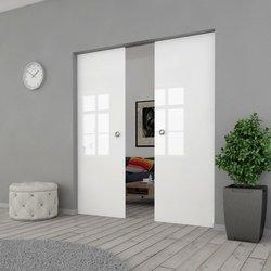 Drzwi Szklane Przesuwne 190(2X95) VSG BIAŁE FLOAT KASETA