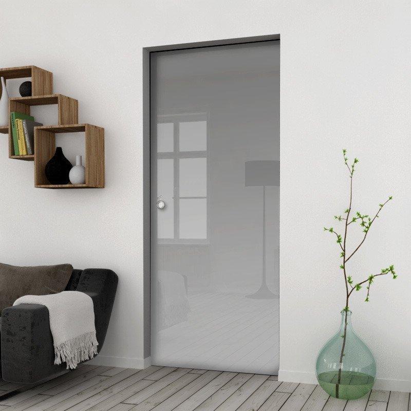 Drzwi Szklane Przesuwne 65 VSG SATYNA KASETA