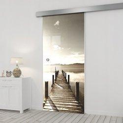 Drzwi Szklane Przesuwne 75 GR-H04 SILVER