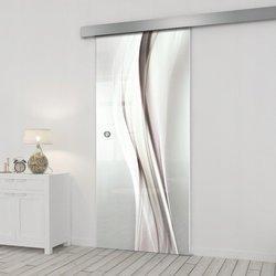 Drzwi Szklane Przesuwne 85 GR-H018 SILVER