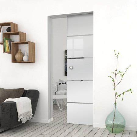 Drzwi Szklane Przesuwne 1050X2095 8MM ESG GEO11 + KASETA