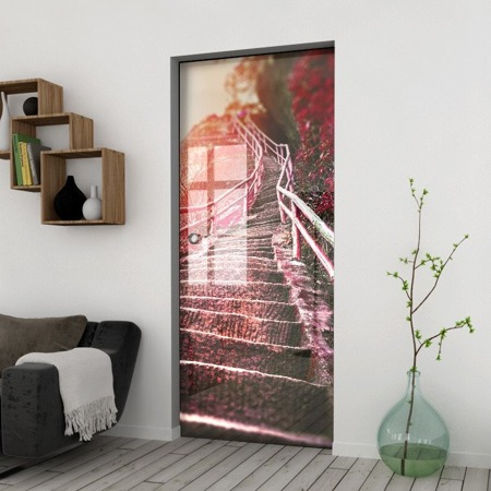 Drzwi Szklane Przesuwne 1050X2095 8MM ESG/VSG GRAFIKA 2STR GR-H010 + KASETA