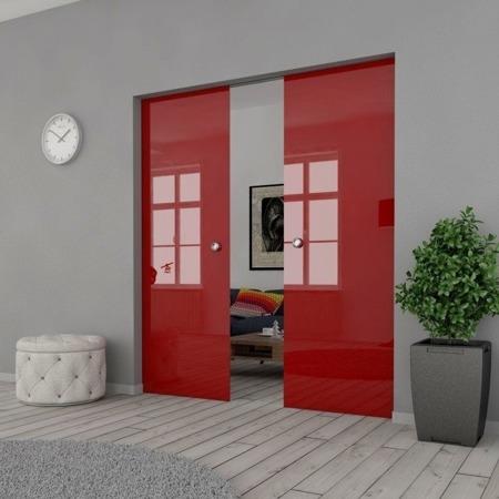 Drzwi Szklane Przesuwne 150(2X75) VSG CZERWONE KASETA