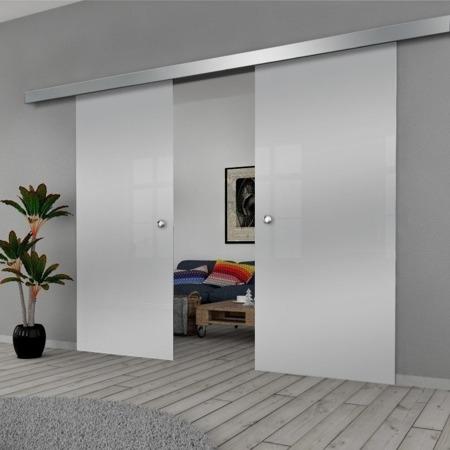 Drzwi Szklane Przesuwne 190(2X95) GEO SATYNA SILVER