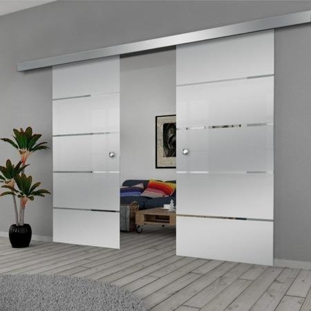 Drzwi Szklane Przesuwne 190(2X95) GEO11 SILVER
