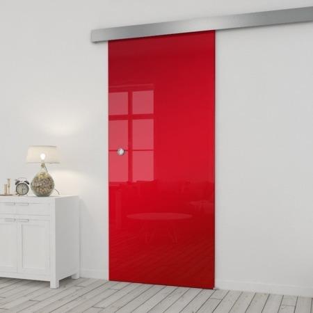 Drzwi Szklane Przesuwne 650X2095 8MM ESG/VSG CZERWONE+ SYSTEM PRZESUWNY