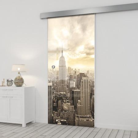 Drzwi Szklane Przesuwne 650X2095 8MM ESG/VSG GRAFIKA 2STR GR-H09 + SYSTEM PRZESUWNY