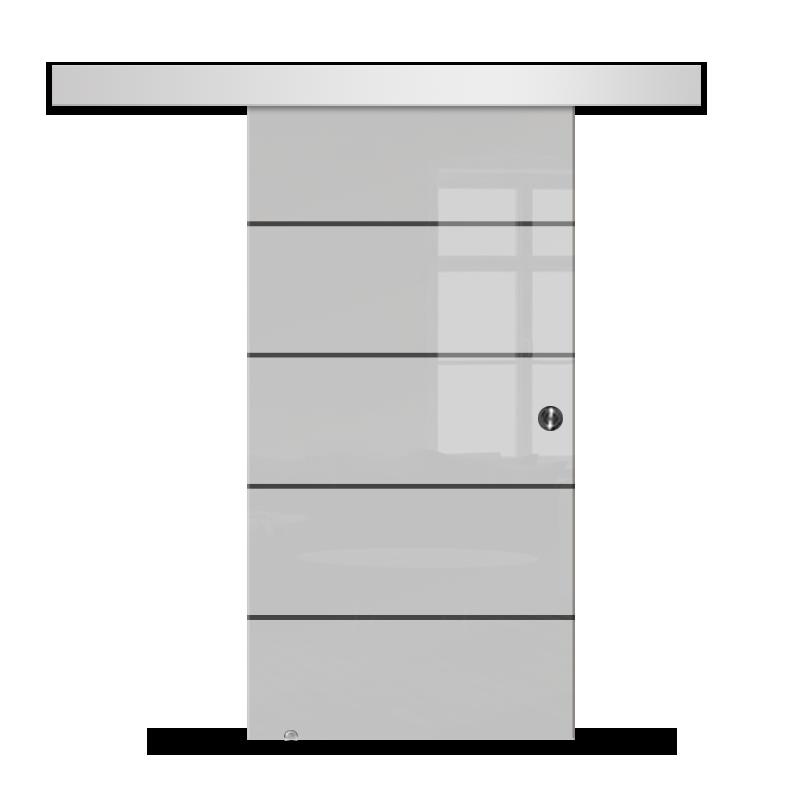 Drzwi Szklane Przesuwne 75 GEO11 SILVER
