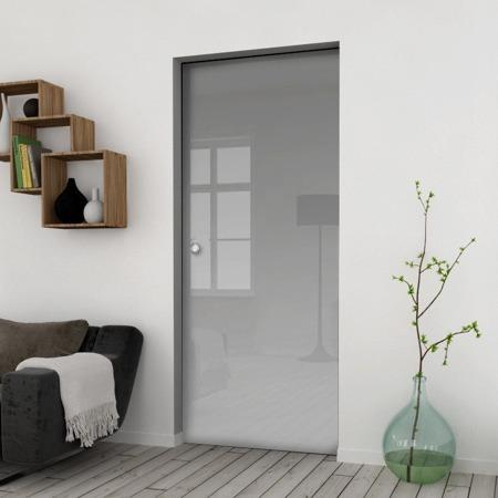 Drzwi Szklane Przesuwne 75 VSG SATYNA KASETA