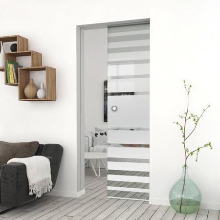 Drzwi Szklane Przesuwne 750X2095 8MM ESG GEO3 + KASETA