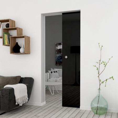Drzwi Szklane Przesuwne 750X2095 8MM ESG/VSG CZARNE + KASETA