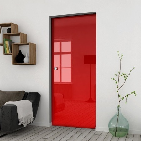 Drzwi Szklane Przesuwne 750X2095 8MM ESG/VSG CZERWONE+ KASETA