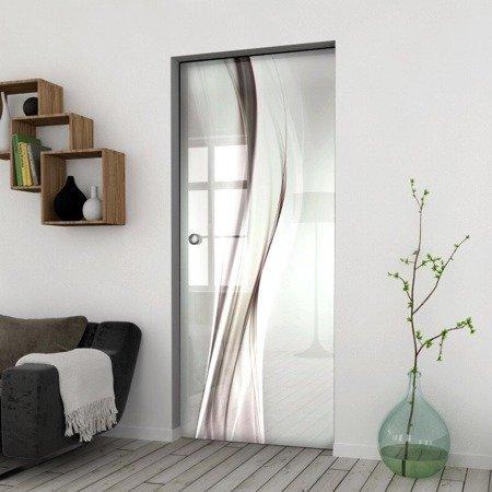 Drzwi Szklane Przesuwne 750X2095 8MM ESG/VSG GRAFIKA 2STR GR-H015 + KASETA