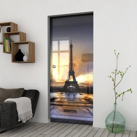 Drzwi Szklane Przesuwne 750X2095 8MM ESG/VSG GRAFIKA 2STR GR-H023 + KASETA