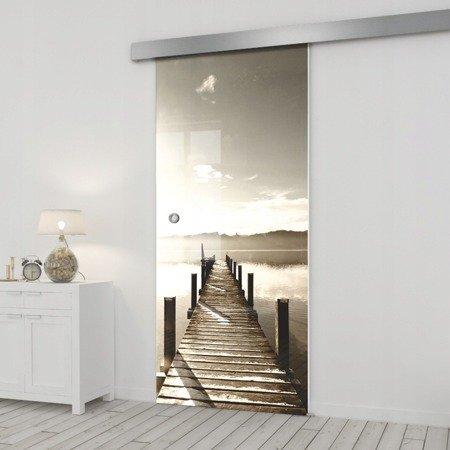 Drzwi Szklane Przesuwne 85 GR-H04 SILVER