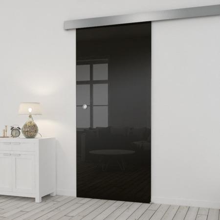 Drzwi Szklane Przesuwne 850X2095 8MM ESG/VSG CZARNE+ SYSTEM PRZESUWNY