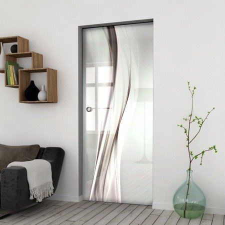Drzwi Szklane Przesuwne 850X2095 8MM ESG/VSG GRAFIKA 2STR GR-H017 + KASETA