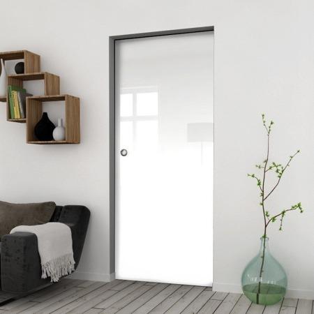 Drzwi Szklane Przesuwne 850X2095 8MM FLOAT ESG/VSG BIAŁE + KASETA