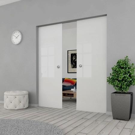 Drzwi Szklane Przesuwne PODWÓJNE 1300X2095 8MM ESG GEO SATYNA + KASETA